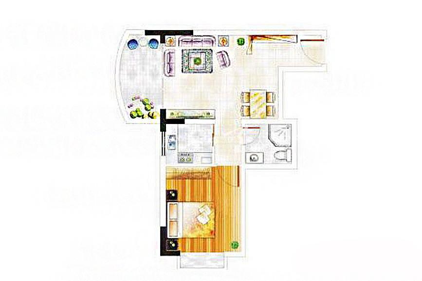 阳明荣德花园 A、B号楼C户型1室1厅1厨1卫