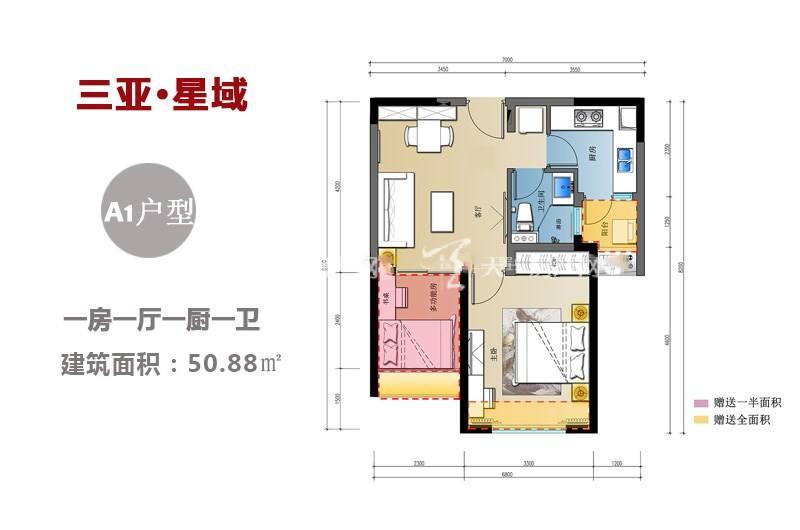 三亚星域 A1户型-1房1厅1厨1卫-50.88㎡.jpg