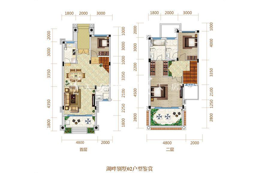 恒大海上帝景湖畔别墅02户型 3室2厅1厨2卫151.44㎡