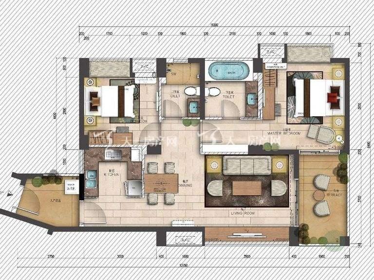 海岸漫谷 1、2、4、5号户型2室2厅1厨2卫91.21㎡.jpg