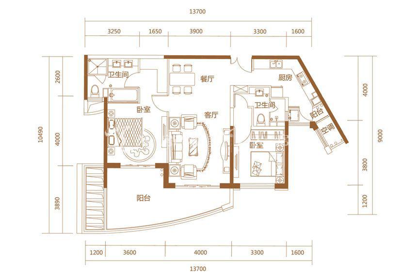 恒大海上帝景悦澜高层3、4#B户型2室2厅1厨2卫122.93㎡