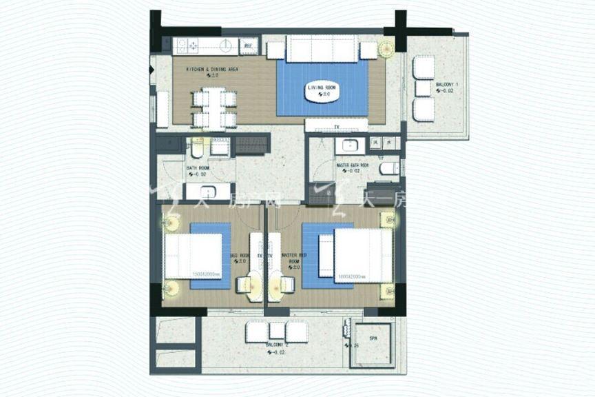 三亚丽禾温德姆产权酒店 B4户型 2室2厅1厨2卫 132.00㎡.jpg