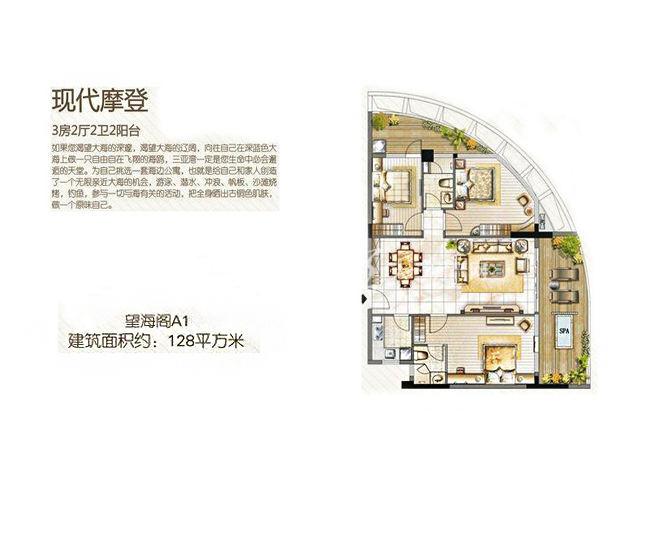 三亚金中海蓝钻 2#A1户型 3房2厅2卫 128.00㎡.jpg