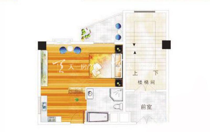 阳明荣德花园 F户型 酒店客房1室1厅1厨1卫