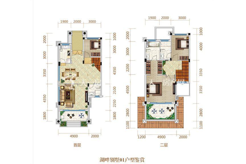 恒大海上帝景湖畔别墅01户型 3室2厅1厨2卫153.03㎡
