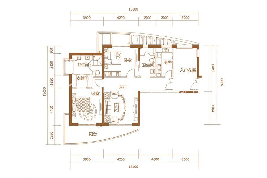 恒大海上帝景悦澜高层3、4#C户型2室2厅1厨2卫145.71㎡
