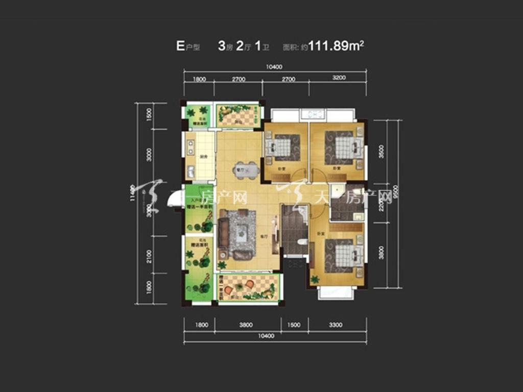 东方蓝城一号 3室2厅1卫  建筑面积111.89㎡