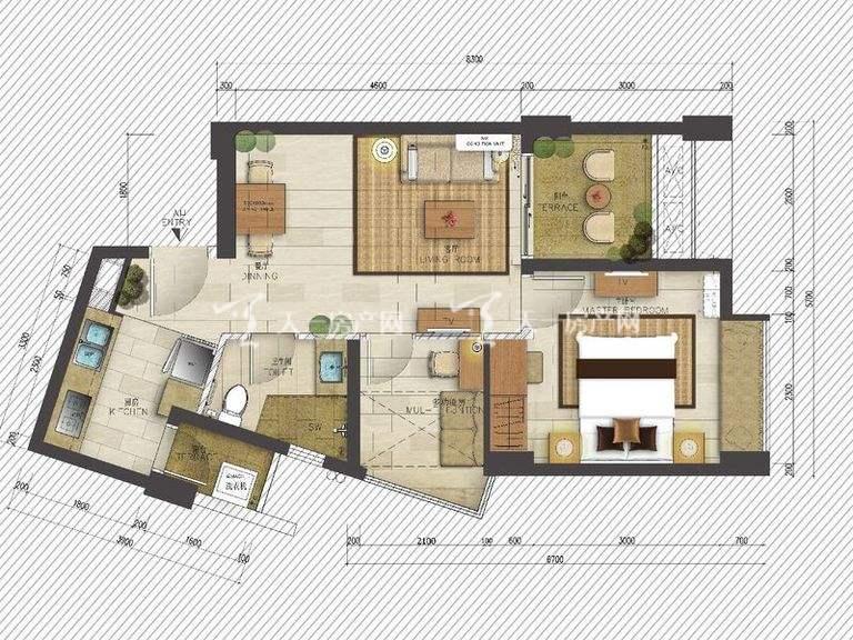 海岸漫谷 1、2、4、5号02户型 一室一厅一厨一卫58.08㎡.j