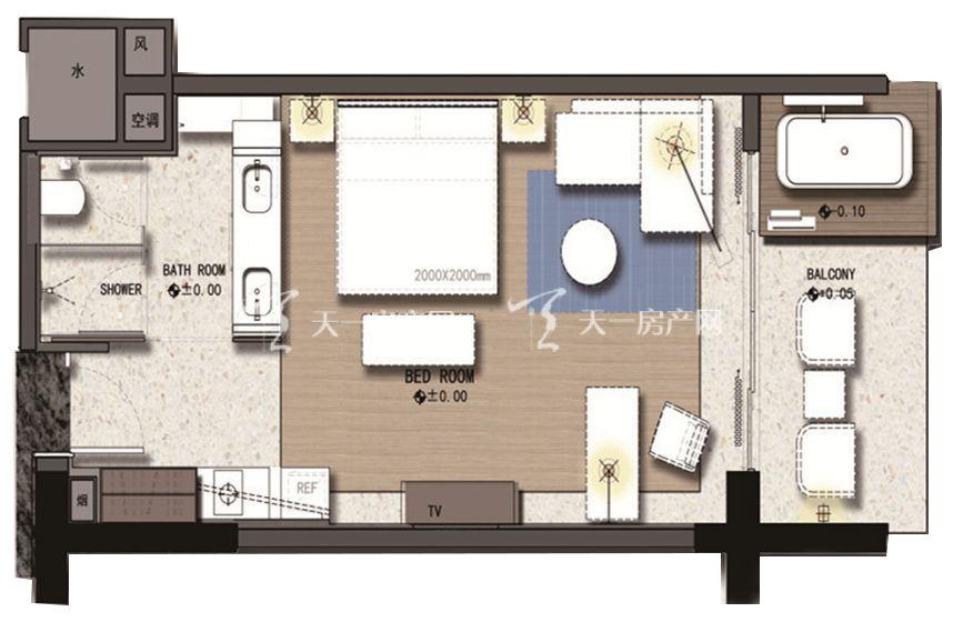 三亚丽禾温德姆产权酒店 B户型 1室0厅1厨1卫67.00㎡.jpg