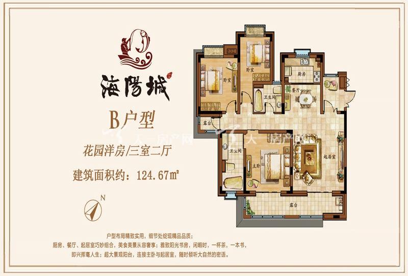 海阳城花园洋房B户型3房2厅124.67㎡