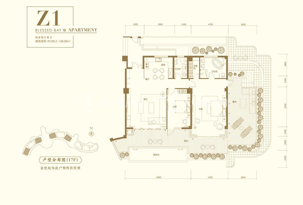 葛洲坝海棠福湾葛洲坝海棠福湾公寓 Z1户型 2室2厅2卫 188㎡