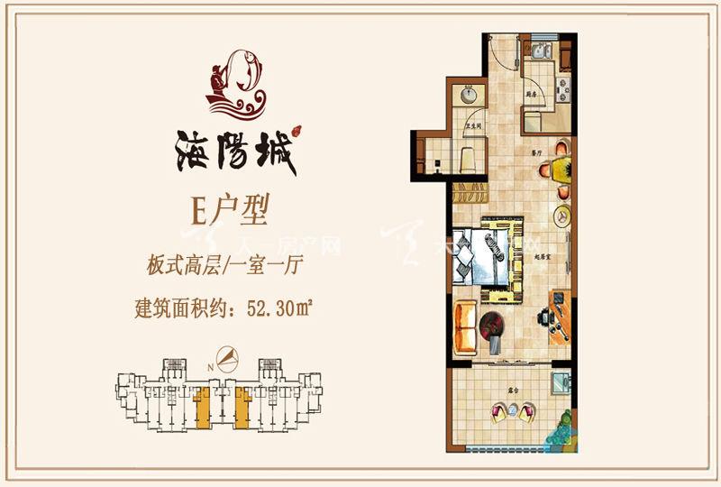 海阳城板式高层E户型1房1厅52.30㎡