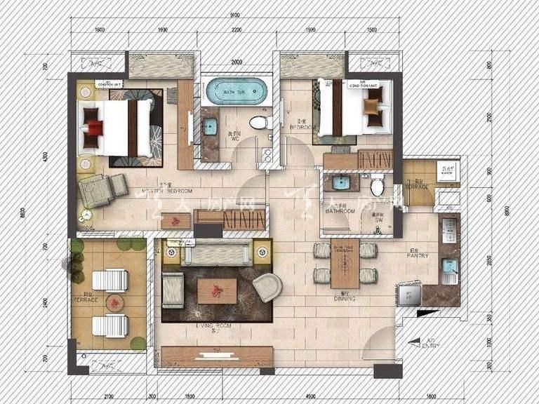 海岸漫谷 3号01户型2室2厅1厨1卫96.08㎡.jpg