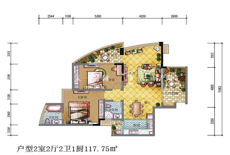 鲁能三亚湾 鲁能三亚湾 户型图 2室2厅2卫1厨117.75㎡.jpg