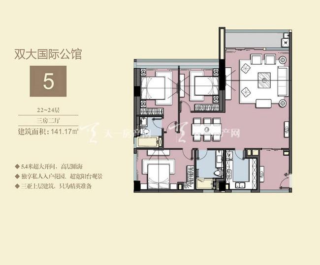 双大国际公馆 5户型22-24层-3房2厅-141.17㎡.jpg