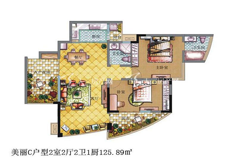 鲁能三亚湾 鲁能三亚湾 户型图 美丽C户型2室2厅2卫1厨125.89