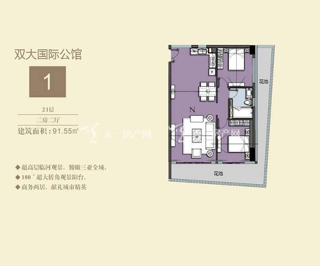双大国际公馆 1户型21层-2房2厅-91.55㎡.jpg