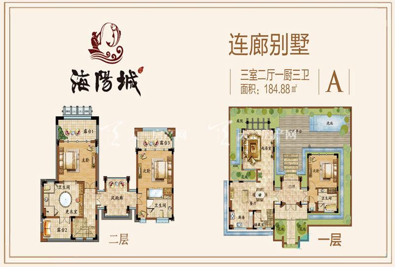 海阳城连廊别墅A户型3房2厅184.88㎡