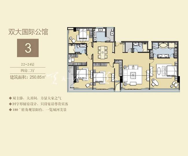 双大国际公馆 3户型22-24层-4房2厅-250.85㎡.jpg