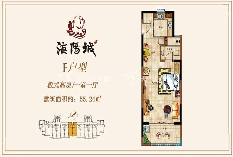 海阳城板式高层F户型1房1厅55.24㎡