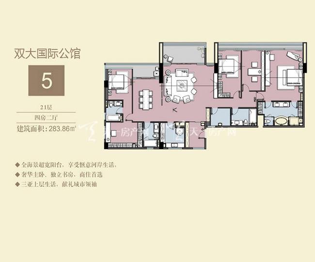双大国际公馆 5户型21层-4房2厅-283.86㎡.jpg