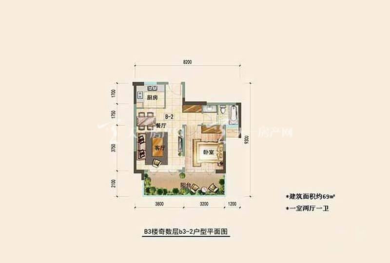 鲁能三亚湾 鲁能三亚湾 户型图 美丽五区 1室2厅1卫 69.00平米