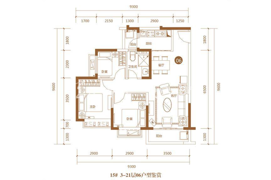 恒大海上帝景瞰海公寓15号楼06户型3室2厅1厨1卫86.21㎡