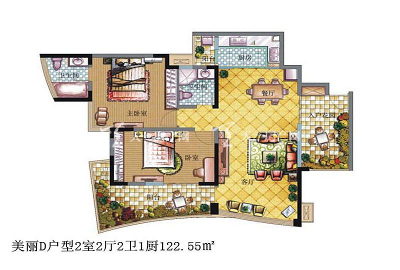 鲁能三亚湾 鲁能三亚湾 户型图 美丽D户型2室2厅2卫1厨122.55