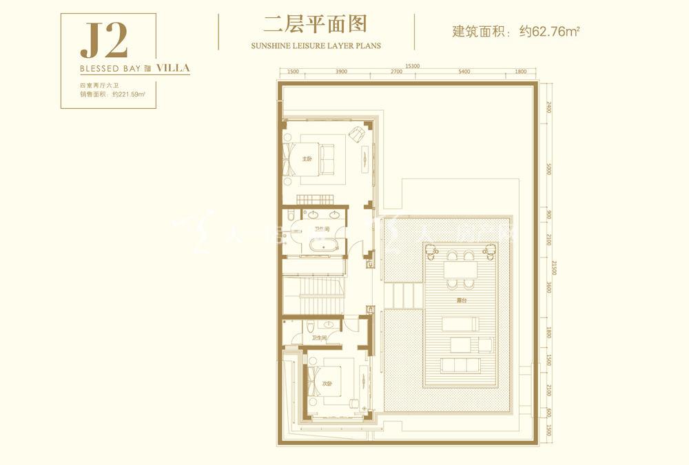 葛洲坝海棠福湾葛洲坝海棠福湾J2户型 4室2厅6卫 187㎡二层平面图
