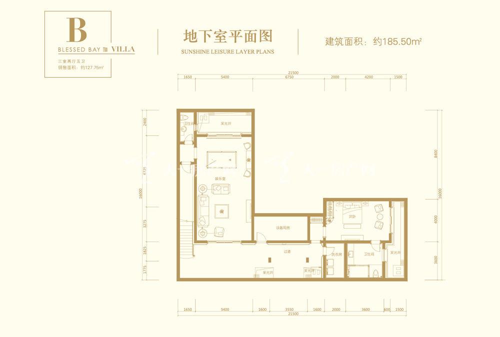 葛洲坝海棠福湾葛洲坝海棠福湾B户型 3室2厅5卫 152㎡地下室平面图