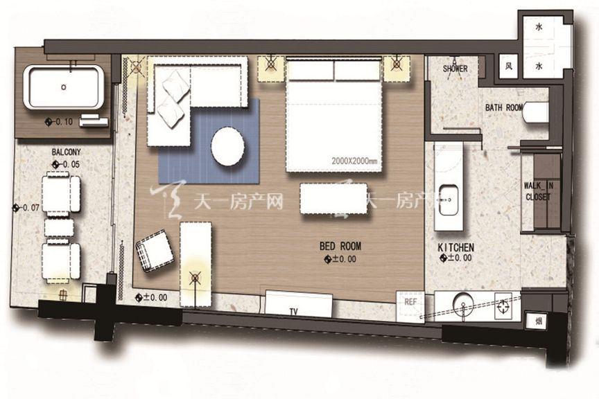 三亚丽禾温德姆产权酒店 C1户型 1室0厅1厨1卫 68.00㎡.jpg