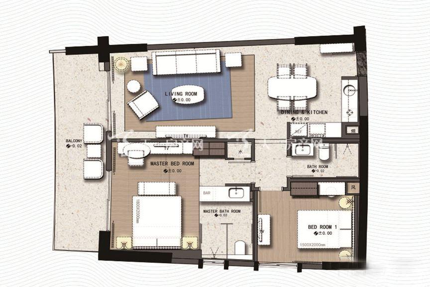 三亚丽禾温德姆产权酒店 C2户型2室1厅1厨2卫 127.00㎡.jpg