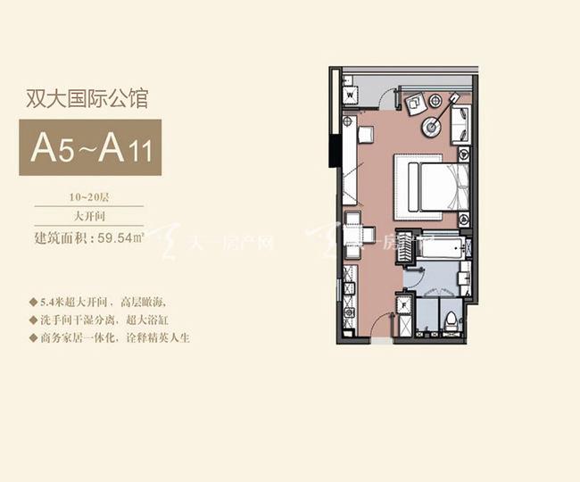 双大国际公馆 A5-A11户型10-20层大开间-59.54㎡.jpg