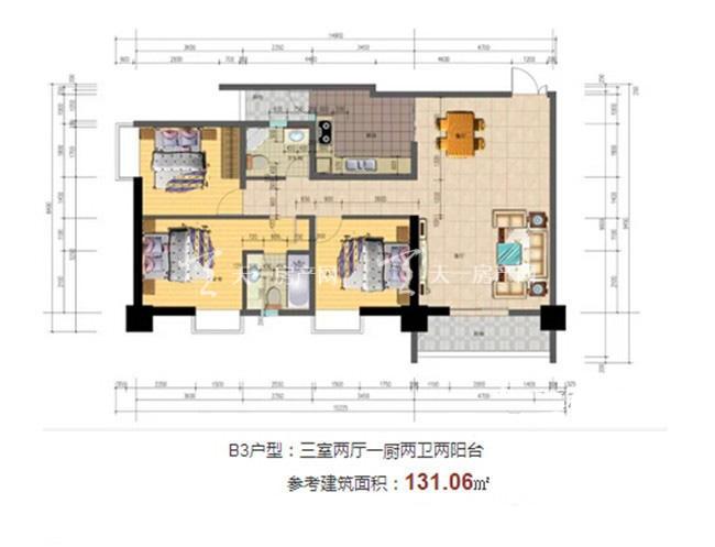 志程大厦 B3户型3室2厅2卫1厨建面131㎡.jpg