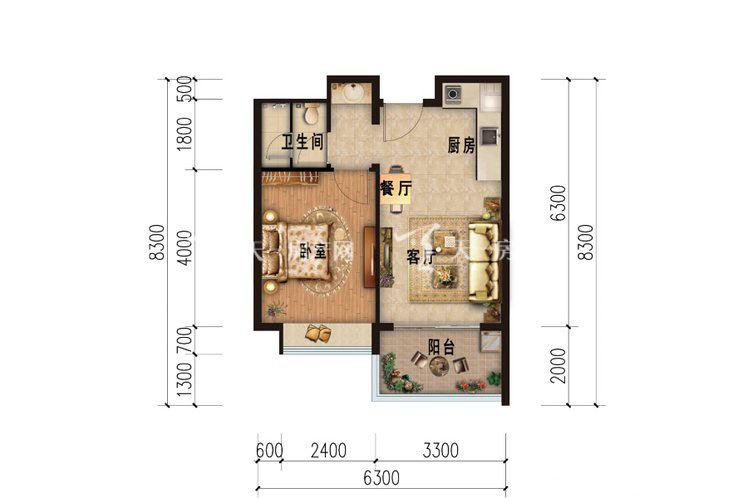 雅居乐西双林语 公寓B户型-1室1厅1卫.jpg