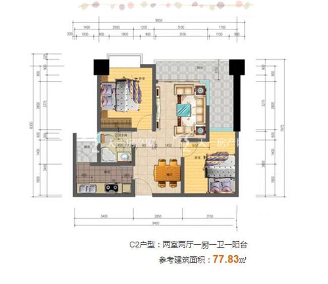 志程大厦 C2户型2室2厅1卫1厨建面78㎡.jpg