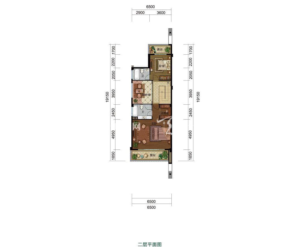 雅居乐西双林语联排H户型二层4室2厅3卫建筑面积约148㎡