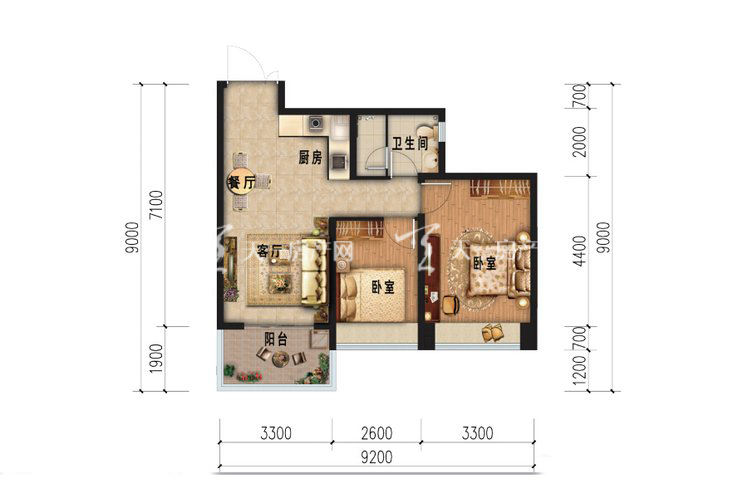 雅居乐西双林语 C1户型-2室1厅1卫.jpg