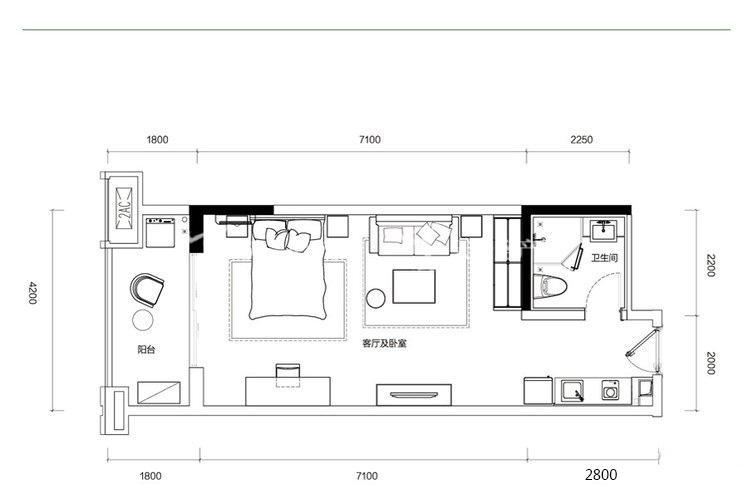 融創西雙版納旅游度假區 G1-G2戶型-1室1廳1衛-57.00㎡.jpg