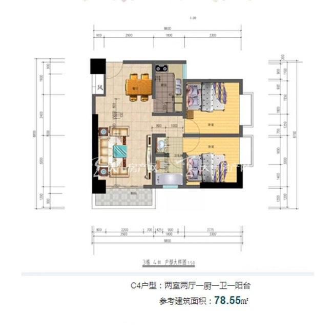 志程大厦 C4户型2室2厅1卫1厨建面79㎡.jpg