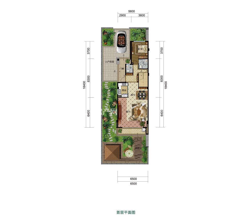 雅居乐西双林语联排H户型首层4室2厅3卫建筑面积约148㎡
