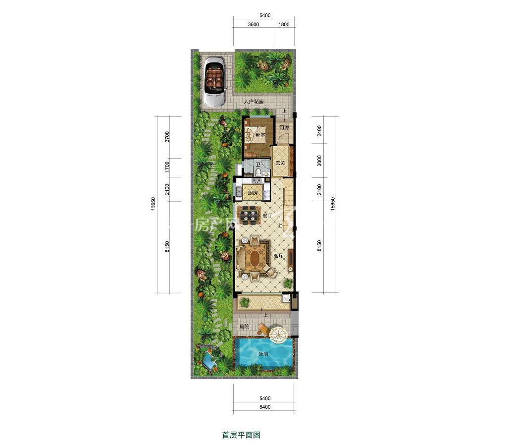 雅居乐西双林语联排G户型首层4室2厅3卫建筑面积约108㎡