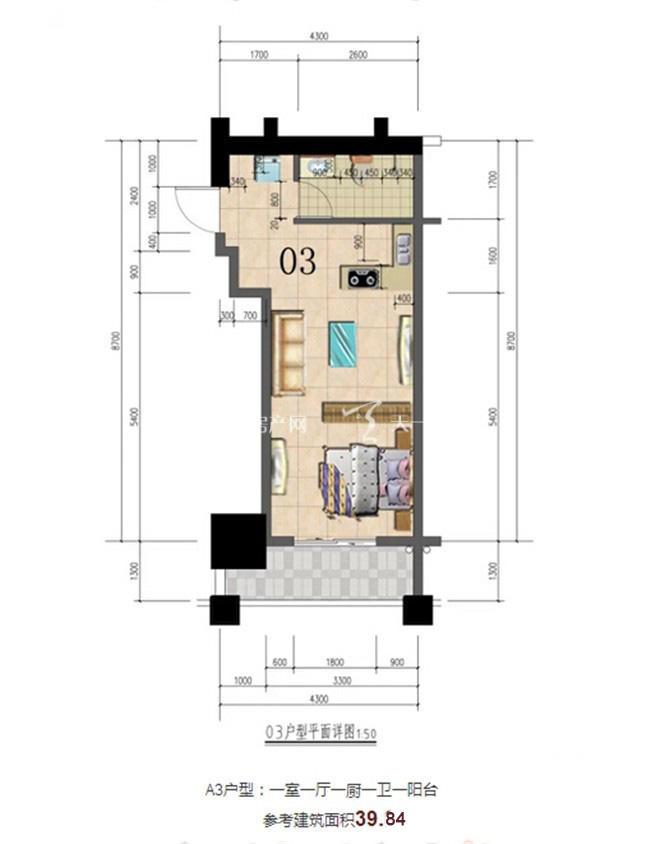 志程大厦 A3户型1室1厅1卫1厨建面40㎡.jpg