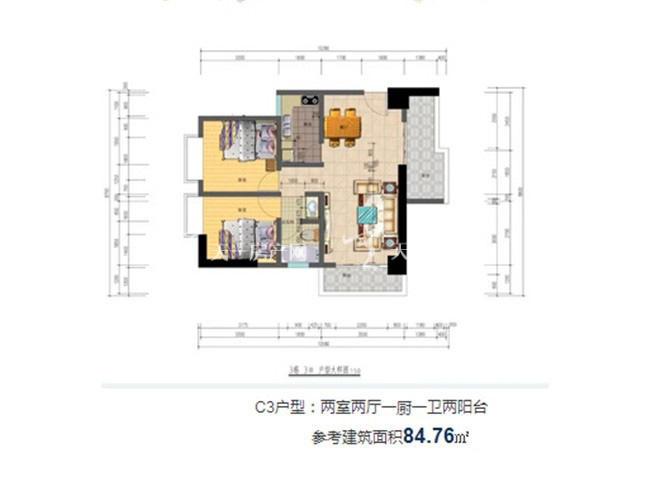 志程大厦 C3户型2室2厅1卫1厨建面85㎡.jpg