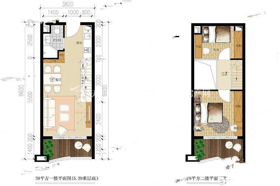 大理洱海福门 2室2厅1卫  39#户型 建筑面积 39㎡.jpg