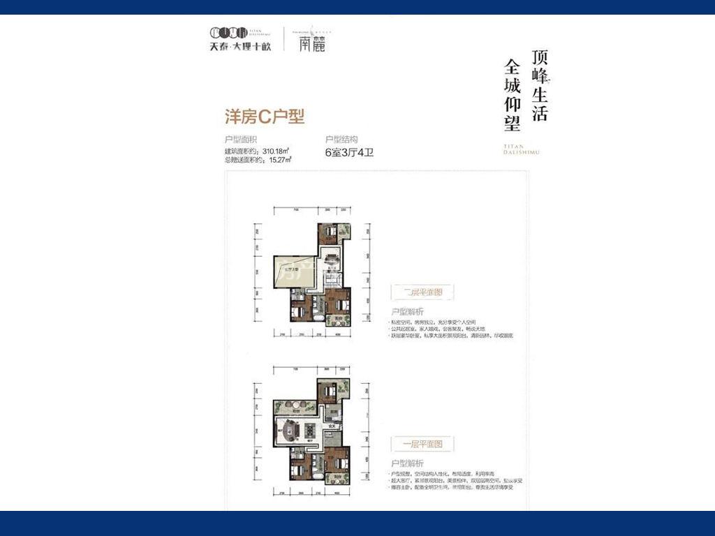 天泰大理十畝 天泰大理十畝洋房C户型图6房3厅4卫建筑面积310.18㎡