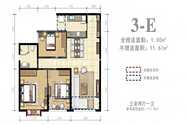 外滩名著 3-E户型3室2厅1卫1厨111.95㎡.jpg