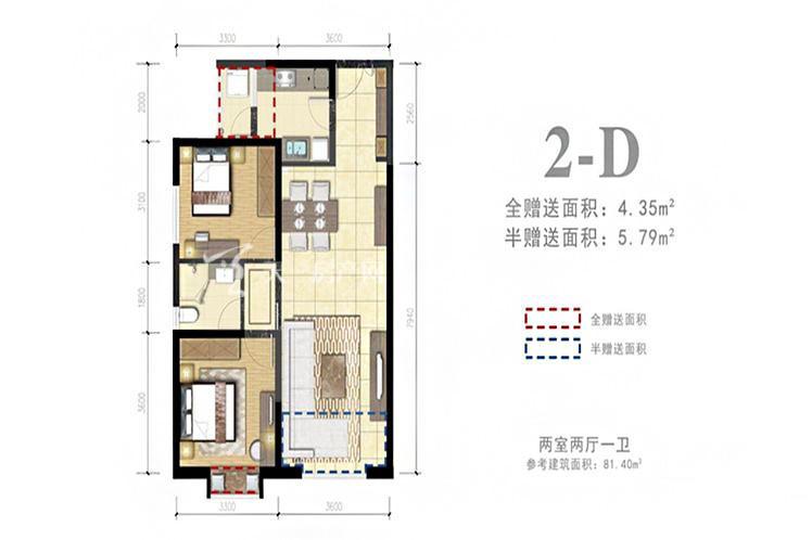 外滩名著 2-D户型2室2厅1卫1厨81.40㎡.jpg