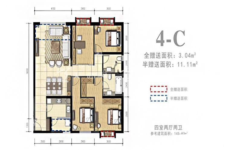 外滩名著 4-C户型4室2厅2卫1厨145.83㎡.jpg