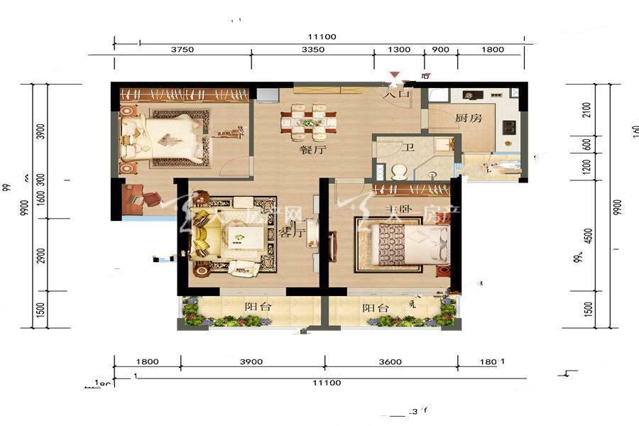俊发观云海 1 2栋D户型2室2厅1卫建筑面积:95平米.jpg